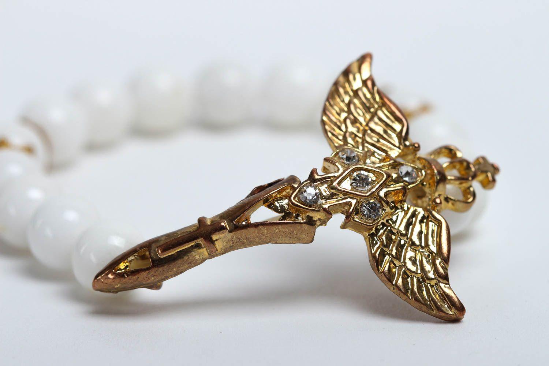 Handmade designer beaded bracelet unusual tender jewelry bracelet with charm photo 3