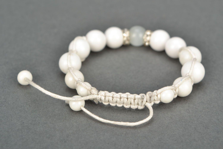White bracelet with natural stones photo 4