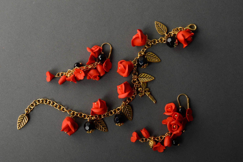 Handmade plastic jewelry set Red Roses photo 1