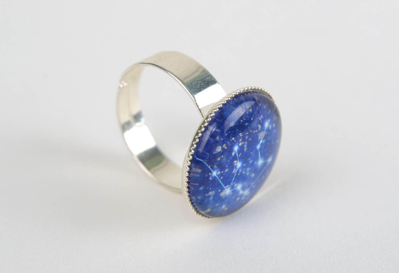 Металлическое кольцо со стеклом ручной работы для знака зодиака Водолей фото 4