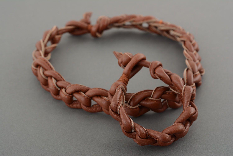 Armband und Collier aus Leder foto 3