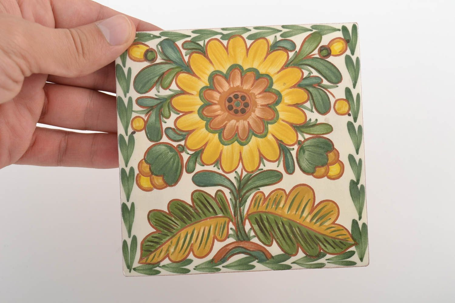 decorative handmade tiles Handmade decorative ceramic tiles painted with engobes with flower wall panel - MADEheart.com