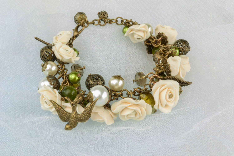 Armband aus Polymerton mit Blumen foto 2