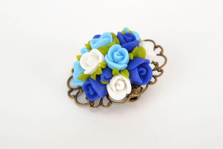 Polymer clay flower brooch photo 3