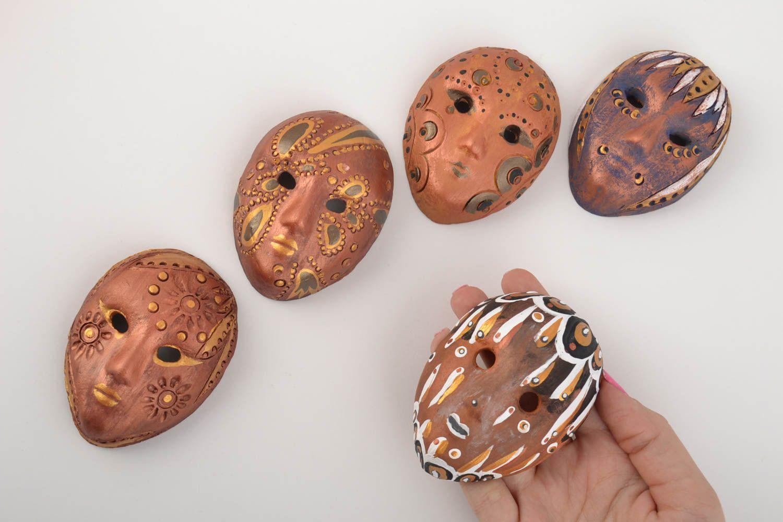 Set of 5 handmade designer painted clay fridge magnets miniature carnival masks photo 5