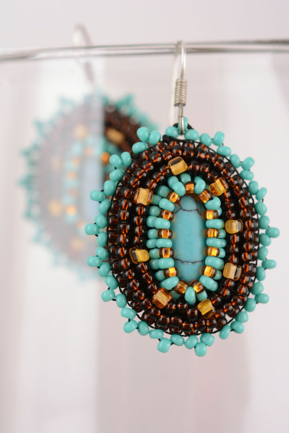 Earrings with charms Chocolate and Turquoise photo 4