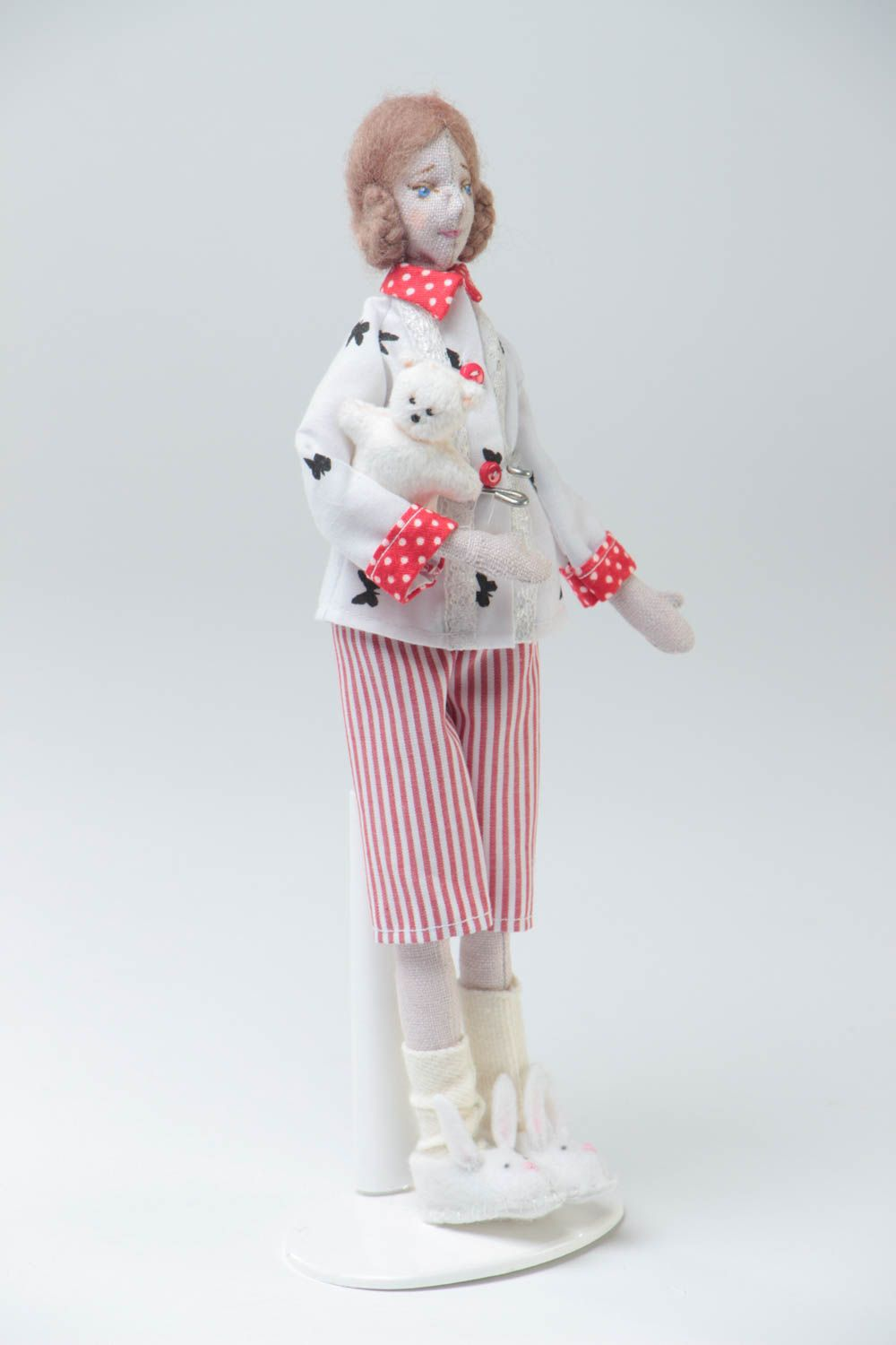 Handmade designer collectible fabric soft doll with white toy bear in slippers photo 2