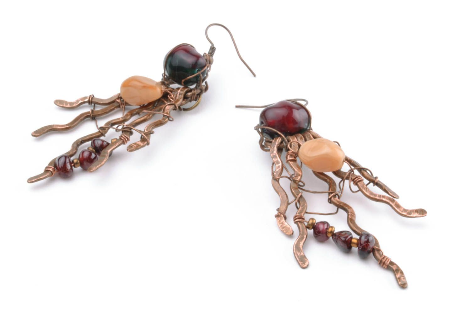 Copper earrings with natural stones photo 4