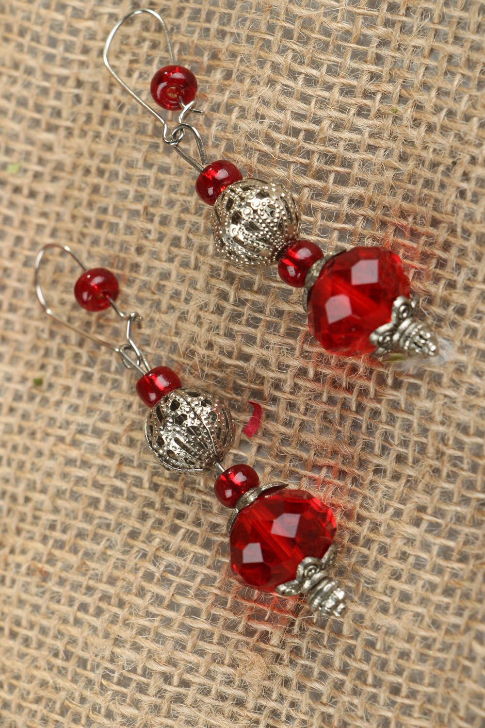 Earrings made of red plastic beads photo 4