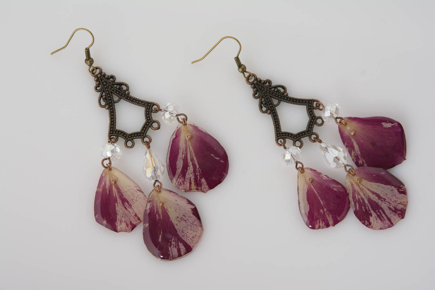Handmade massive long earrings with rose petals in epoxy resin stylish jewelry photo 4