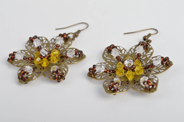 pendientes de abalorios Pendientes hechos a mano de abalorios rojos bisutería artesanal regalo original - MADEheart.com