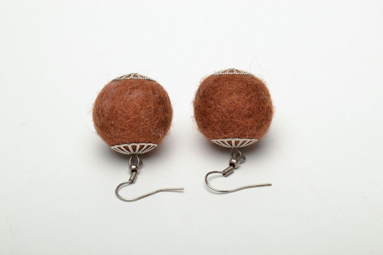 Brown wet felted wool earrings photo 5