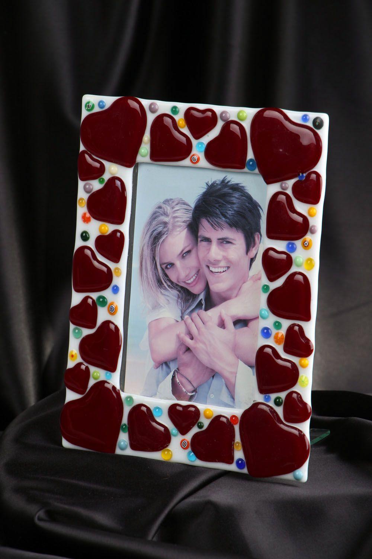 Fused glass photo frame Hearts photo 5