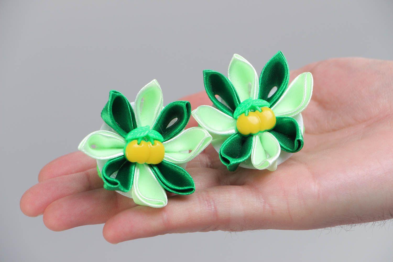 Set of 2 beautiful handmade green fabric flower hair ties kanzashi technique photo 5