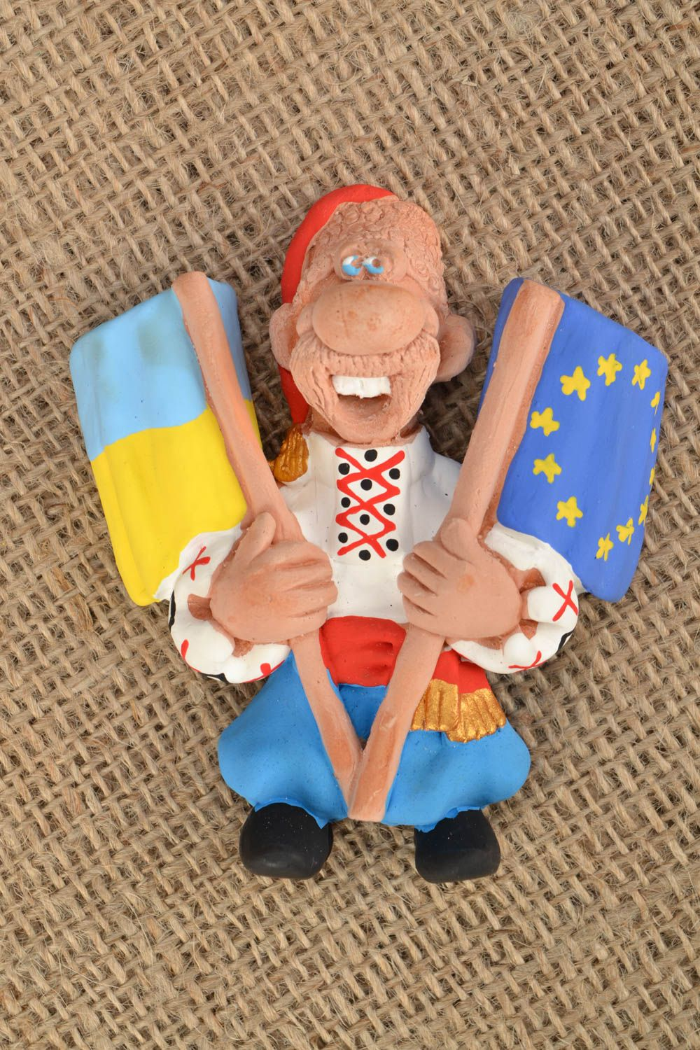 Ceramic fridge magnet Cossack with Flags photo 1