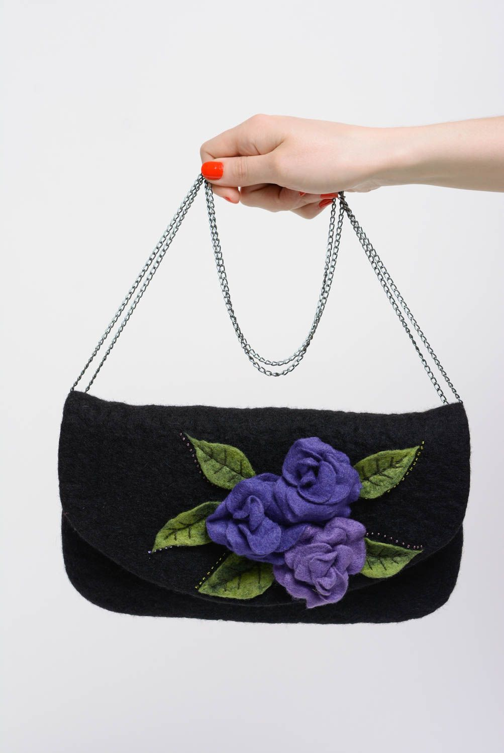 Black handbag wool felting technique on metal chain handmade designer purse photo 5