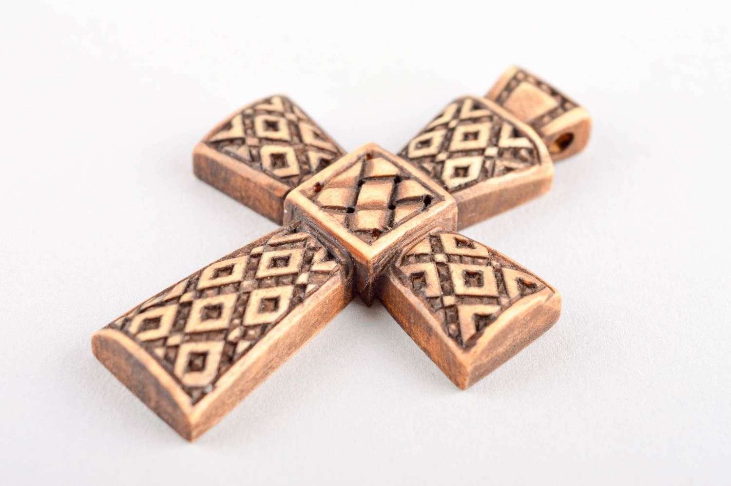 Handmade cross designer accessory unusual gift wooden jewelry wooden pendant photo 1