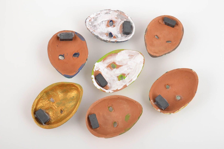 Set of 7 handmade designer souvenir ceramic fridge magnets venetian masks photo 2