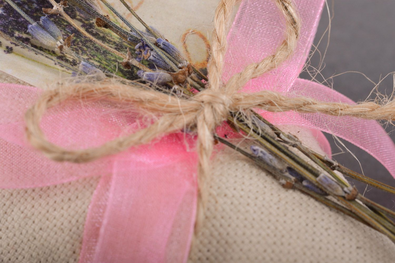 Handmade linen fabric sachet pillow filled with aroma herbs photo 1