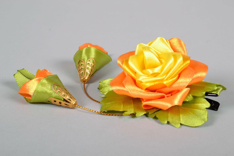 Satin hair clip Chinese Rose photo 3