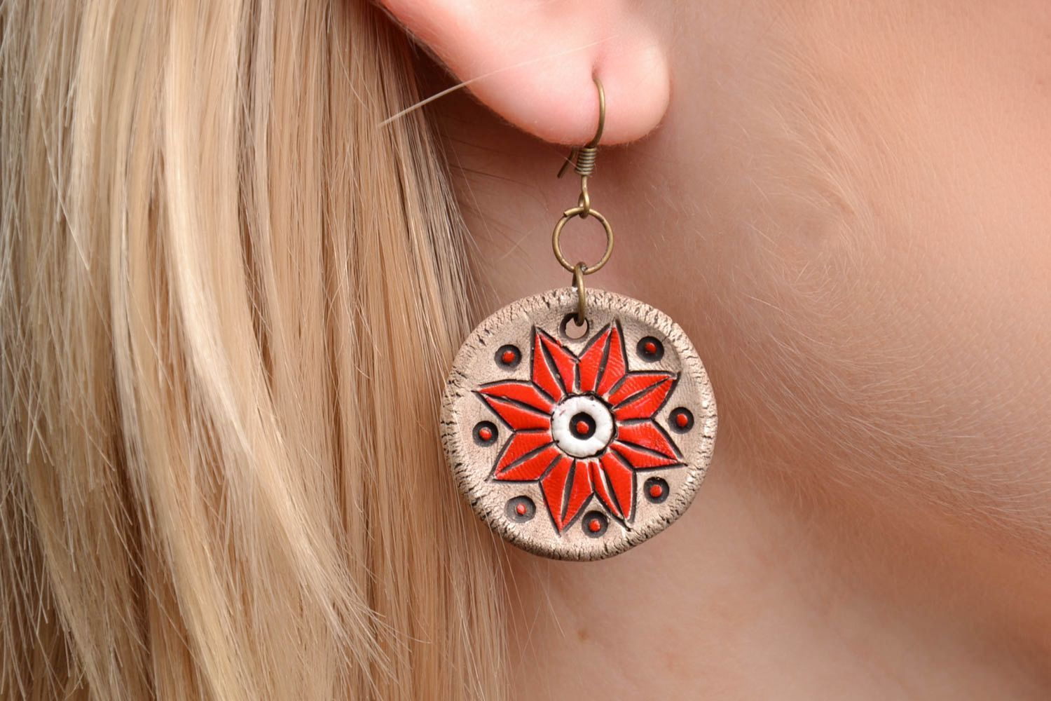 Ceramic earrings with charms photo 2