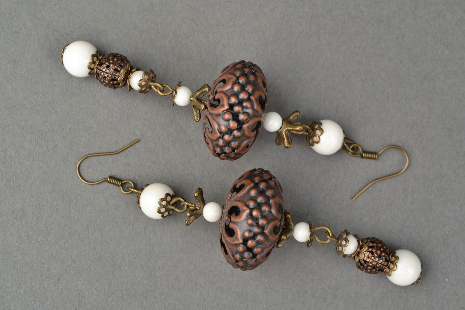 Metal earrings with ceramic beads photo 3