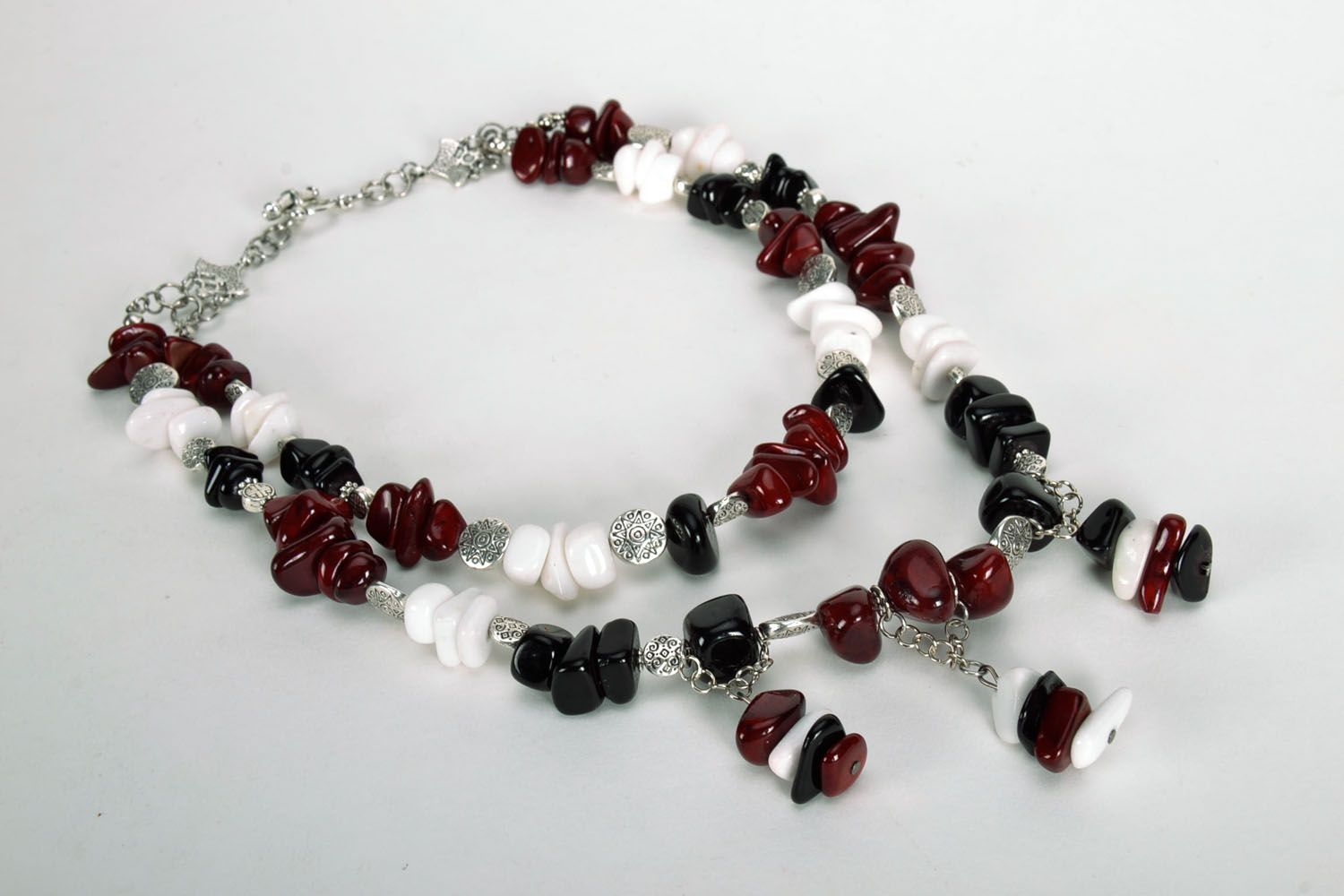 Homemade bead necklace with natural stones photo 5