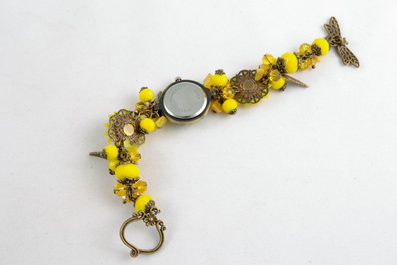 Reloj de autor de arcilla polimérica Amarillo  foto 5