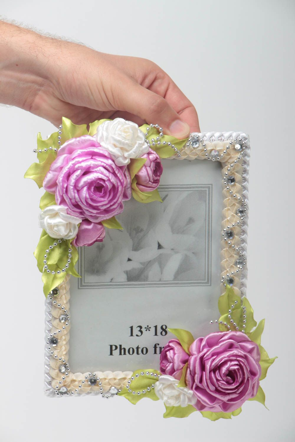 Handmade wooden photo frame with textile flowers interior decorating gift ideas photo 5