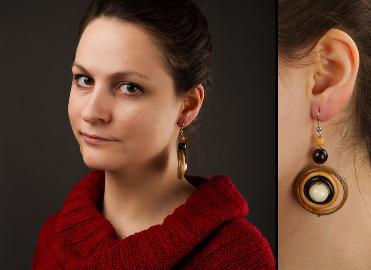 Round wooden earrings photo 2