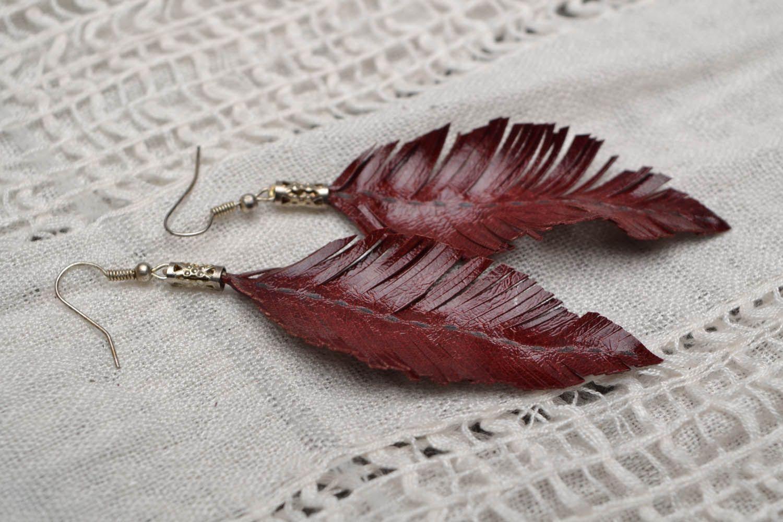 Leather leaf earrings  photo 1
