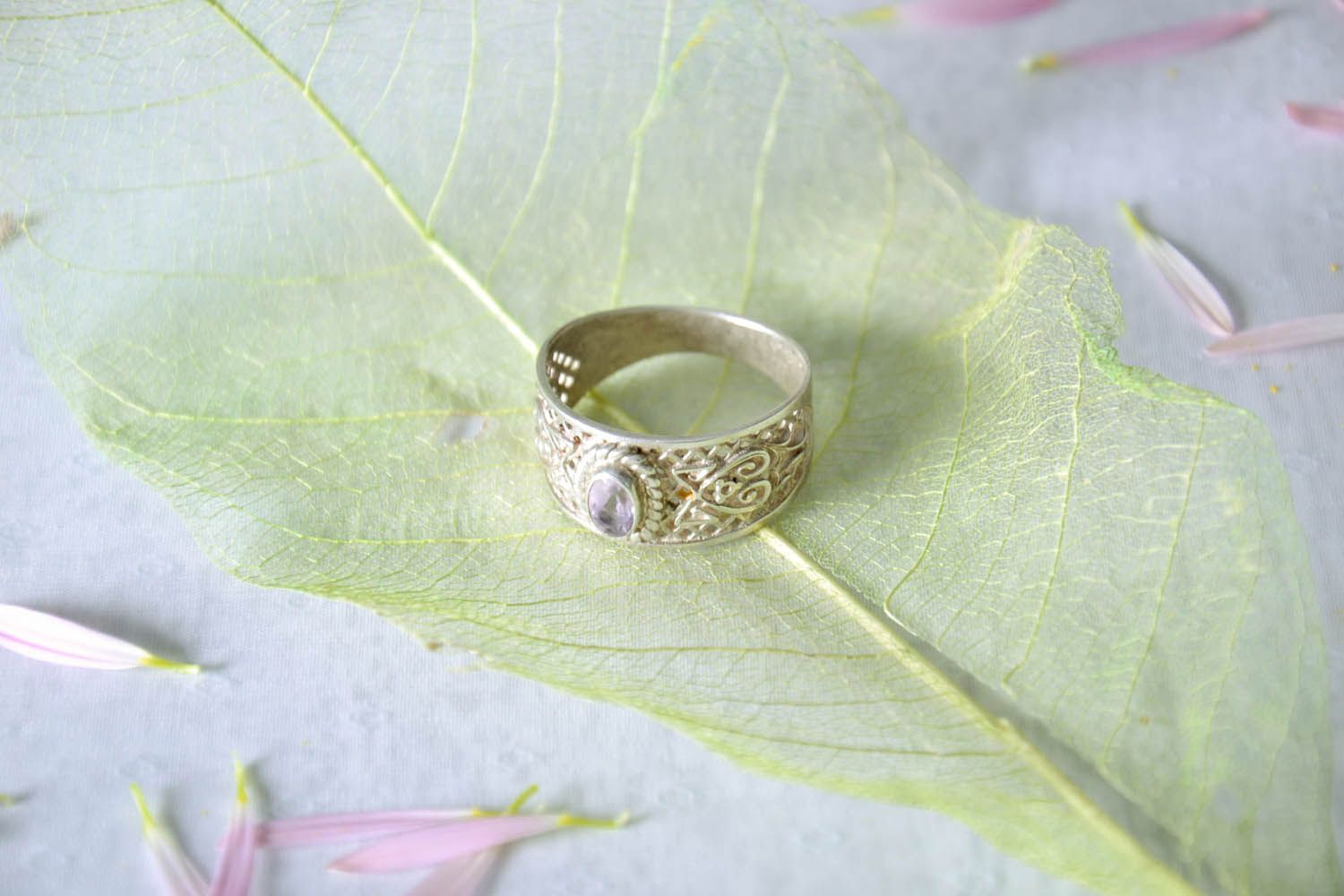silver & gold rings Handmade silver ring  - MADEheart.com
