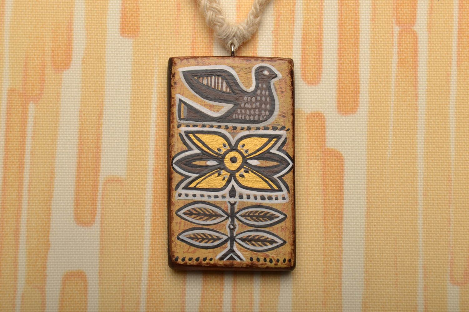 Wooden pendant Ethnic photo 1