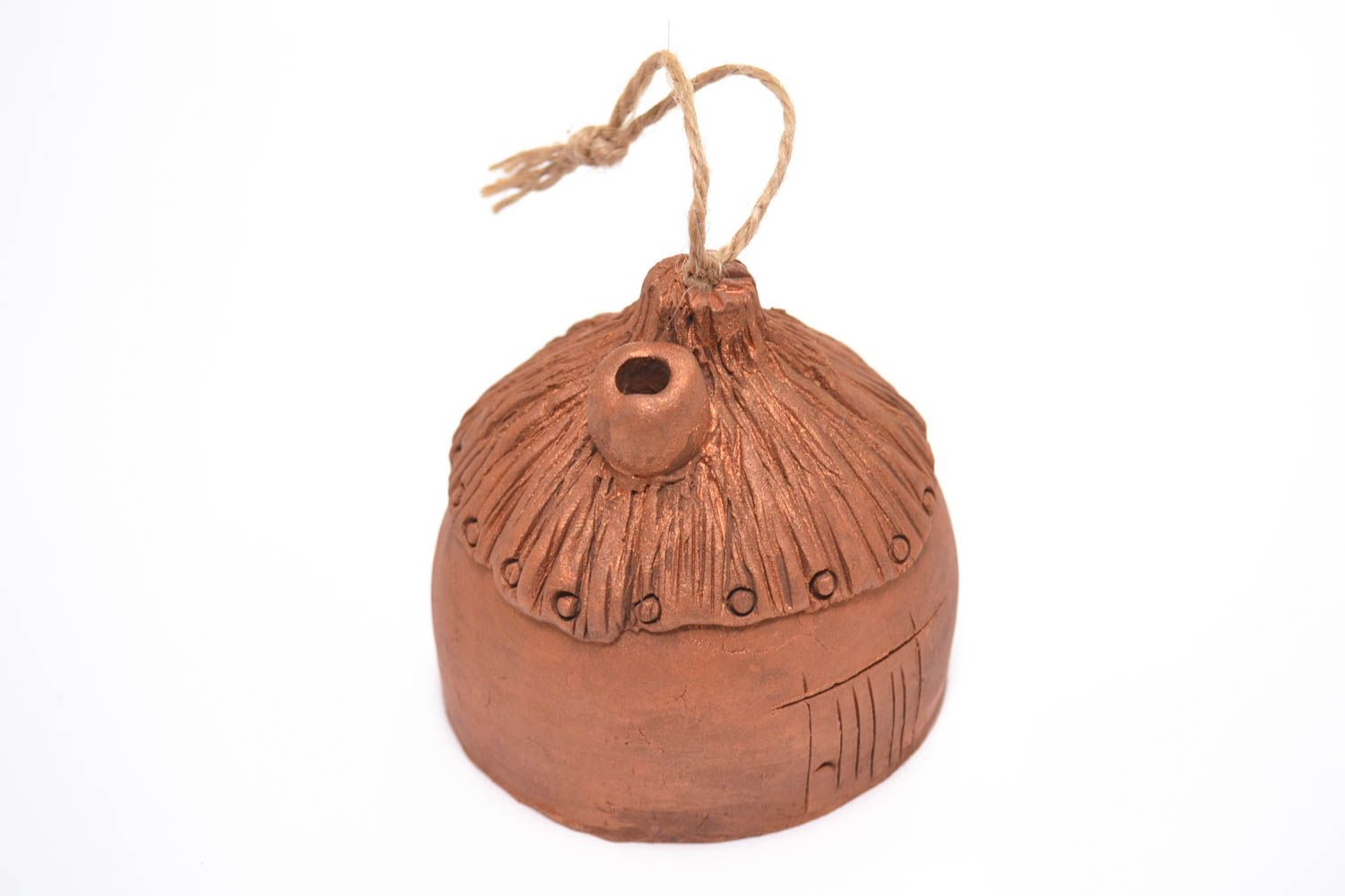 Unusual handmade ceramic bell clay bell wall hanging decorative use only photo 2