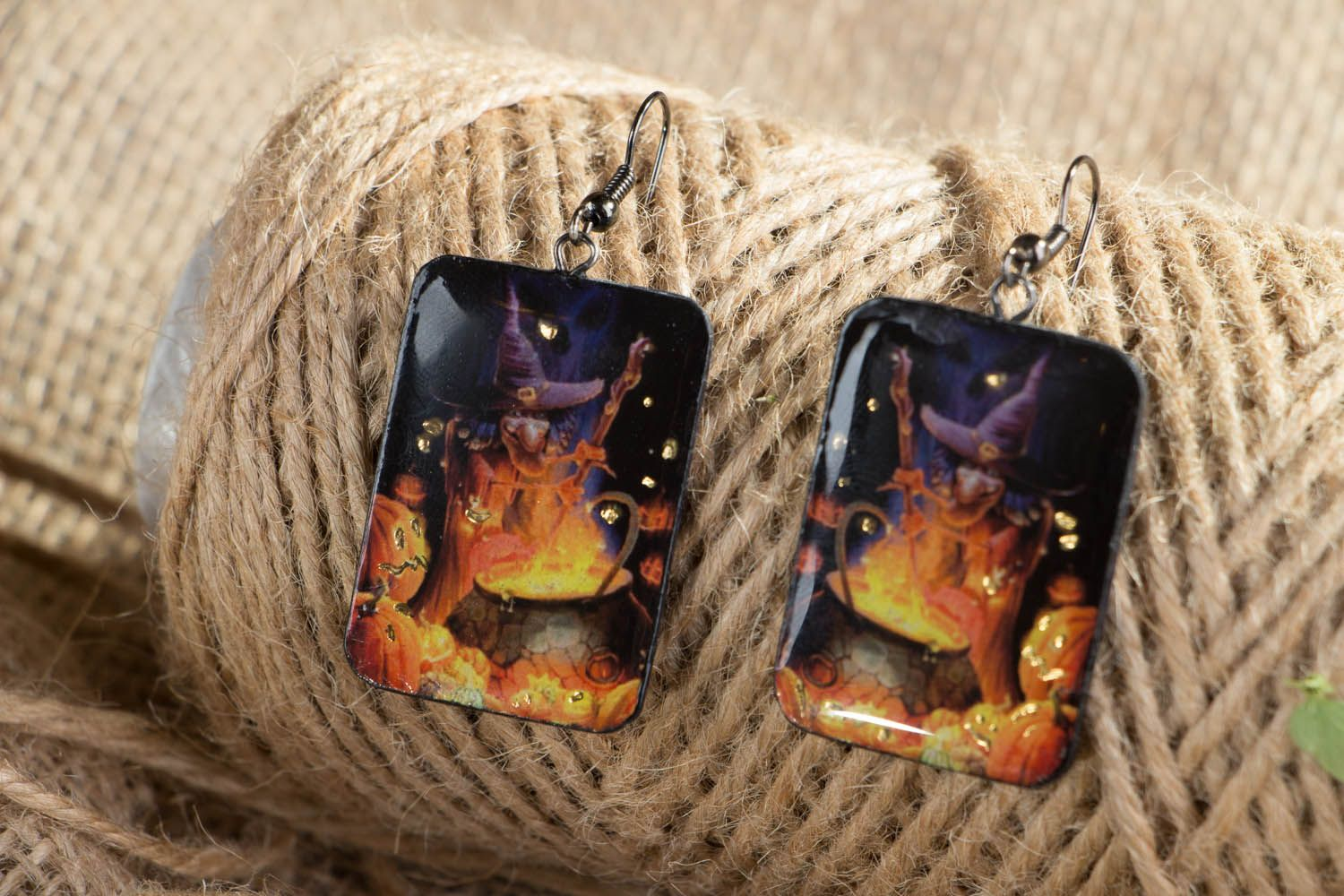 Polymer clay earrings Little Witch photo 3