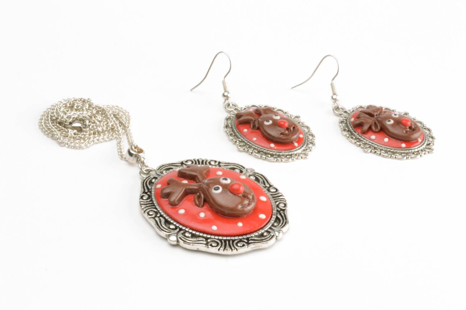 Polymer clay jewelry set Deers photo 3