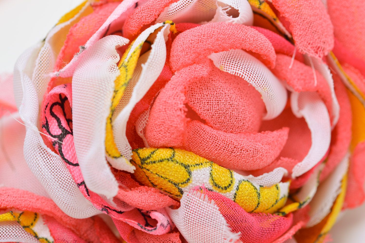 Feminine handmade headband with fabric flowers and beads in pink color palette photo 5
