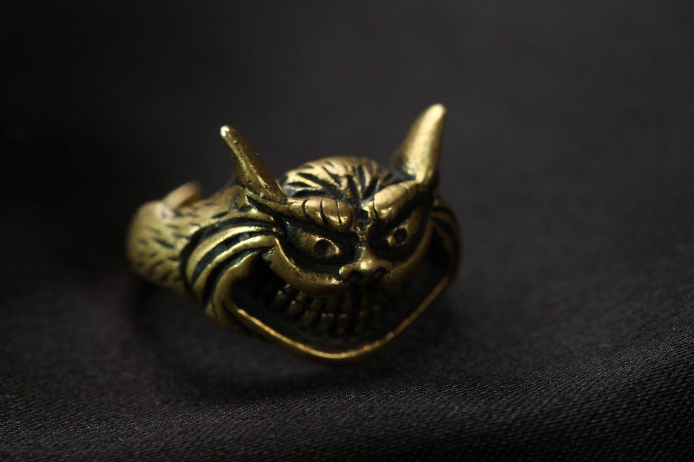 Bronze seal ring Cheshire Cat photo 5