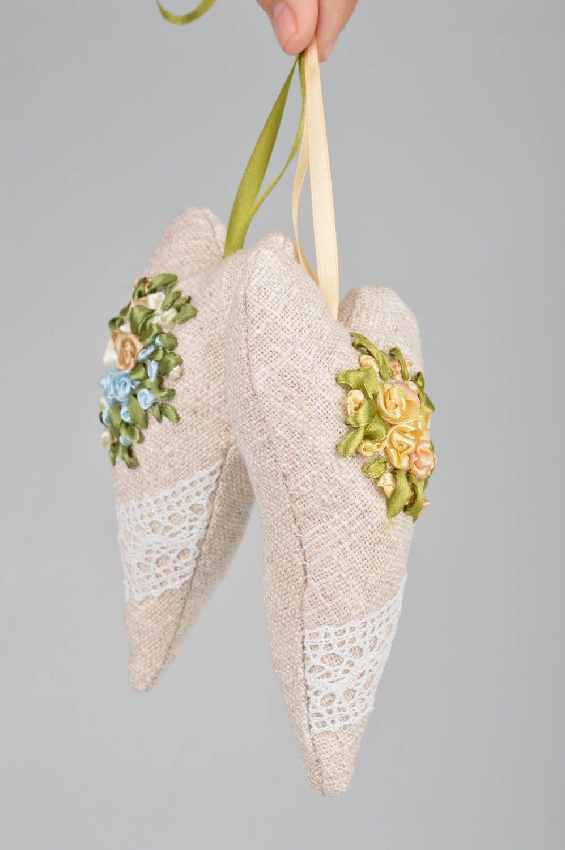 Set of 2 handmade flavored fabric interior hanging hearts sachet pillows photo 3