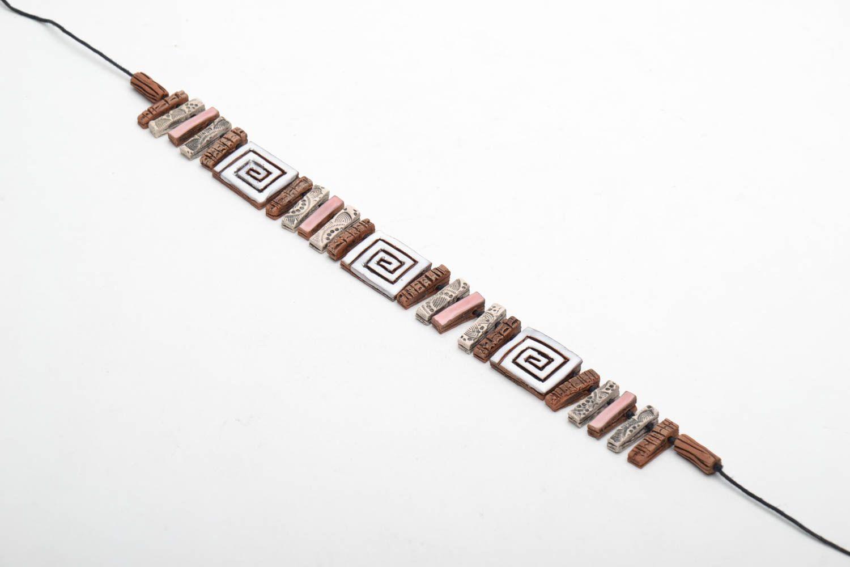 Unusual ceramic bead necklace photo 3