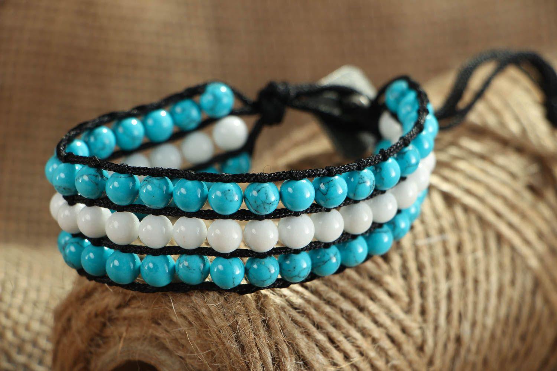 Blau weißes Armband mit Achat und Türkis foto 5