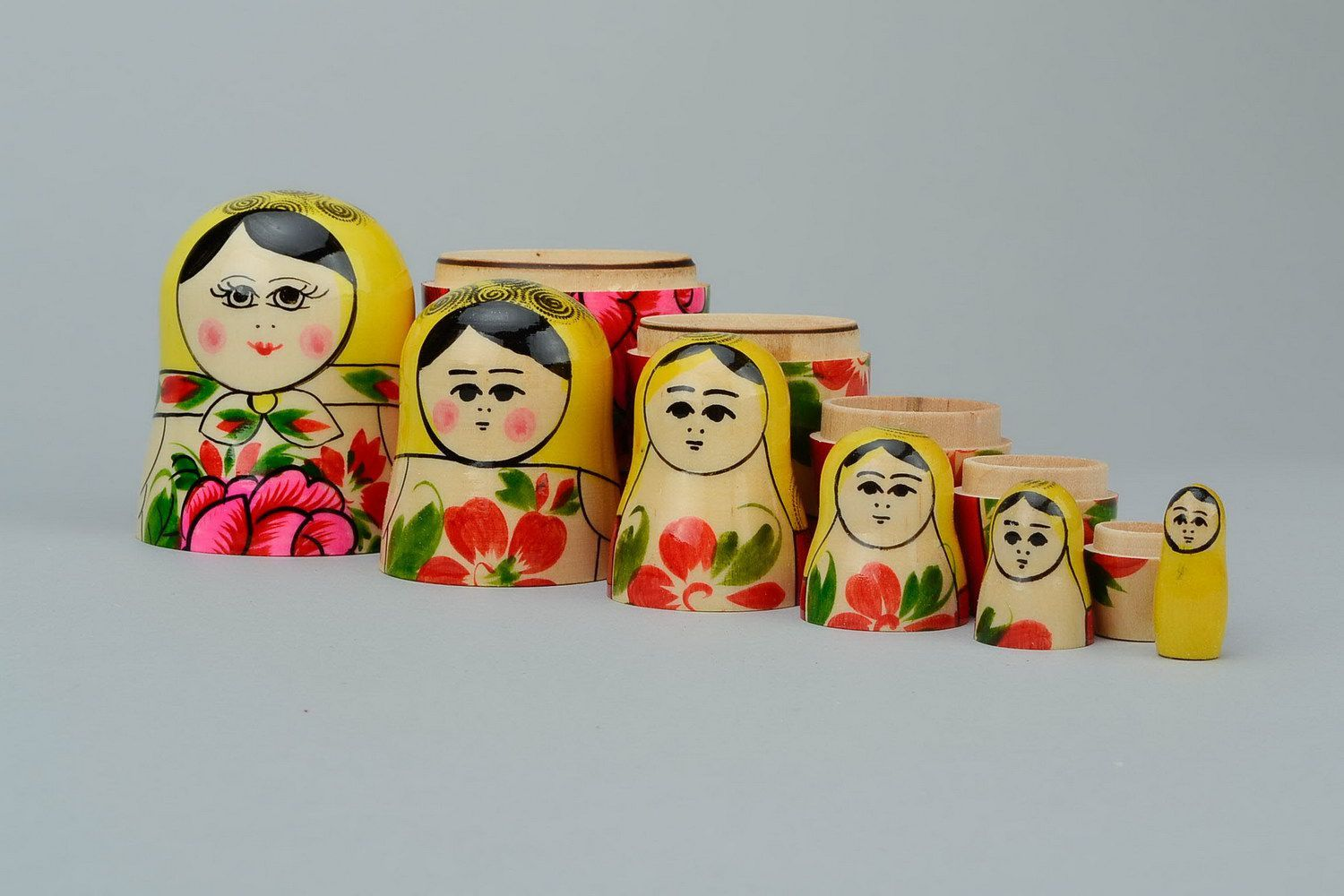Painted wooden nesting doll of average size photo 2