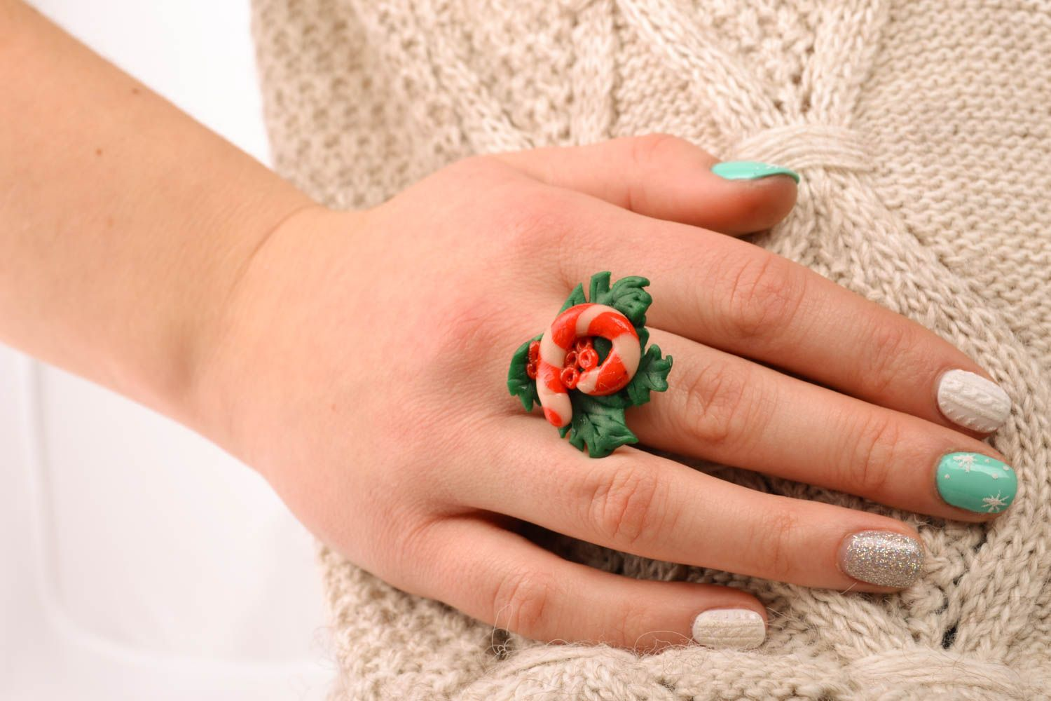 Unusual polymer clay ring photo 5