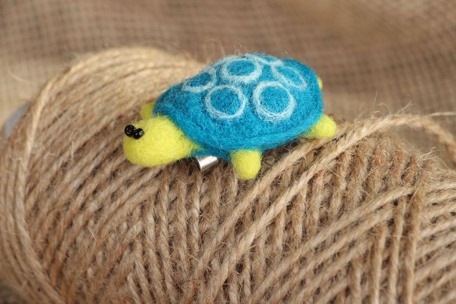 Brooch made of felted wool Turtle photo 5