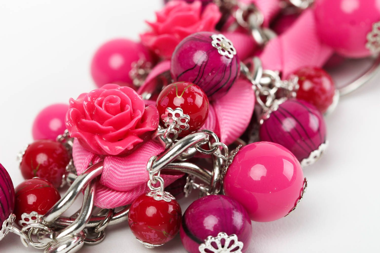 Браслет ручной работы браслет из бусин женский браслет из керамики и пластика фото 3