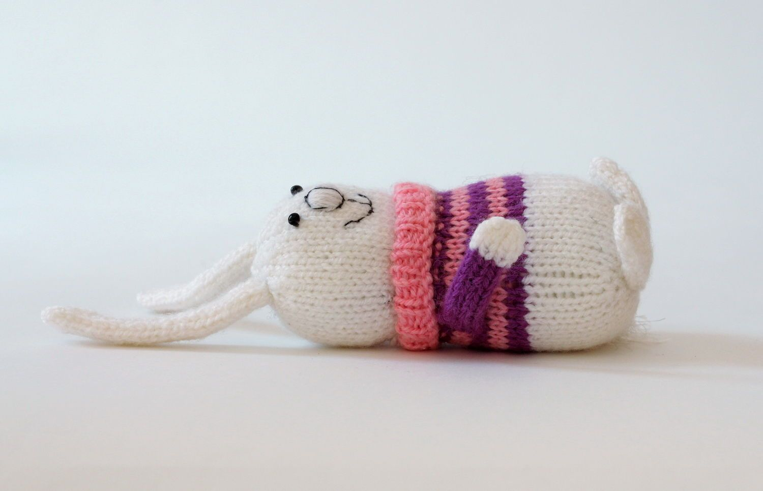 Knitted toy Baby rabbit in pink-purple sweater photo 3