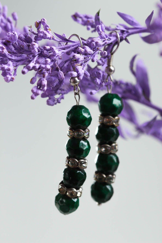 Серьги ручной работы серьги из натуральных камней серьги с малахитом красивые фото 1