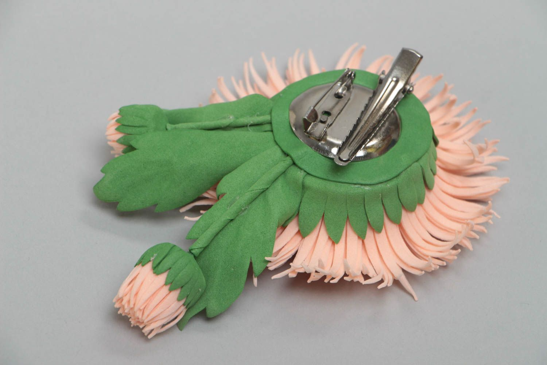 Handmade designer brooch hair clip with foamiran aster flower of pink color photo 4