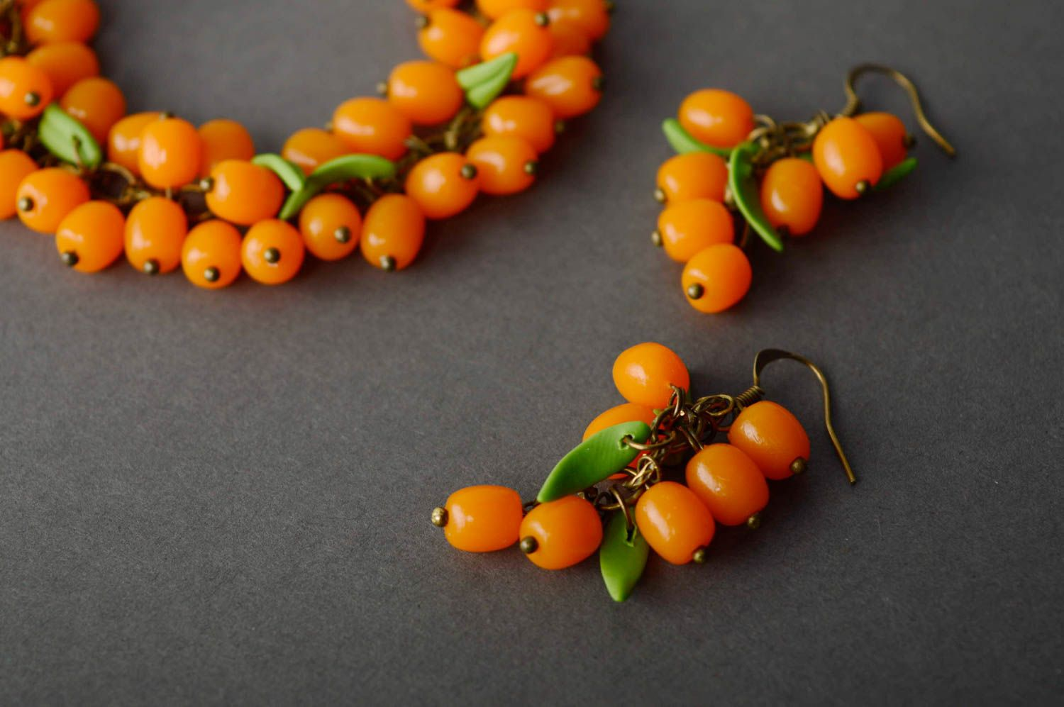 Polymer clay jewelry set Sea Buckthorn photo 1
