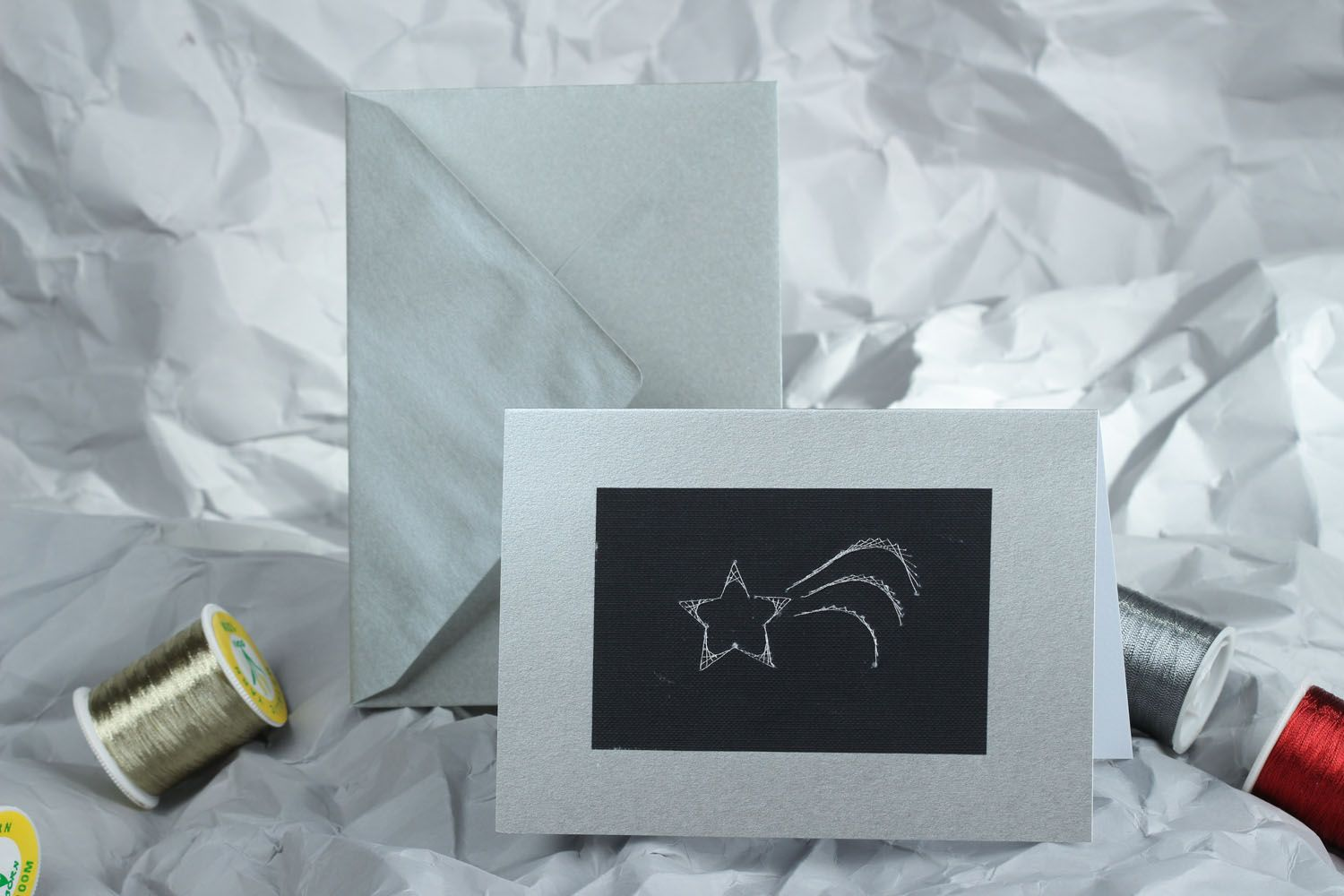 Greeting card and envelope made using thread drawing technique photo 5